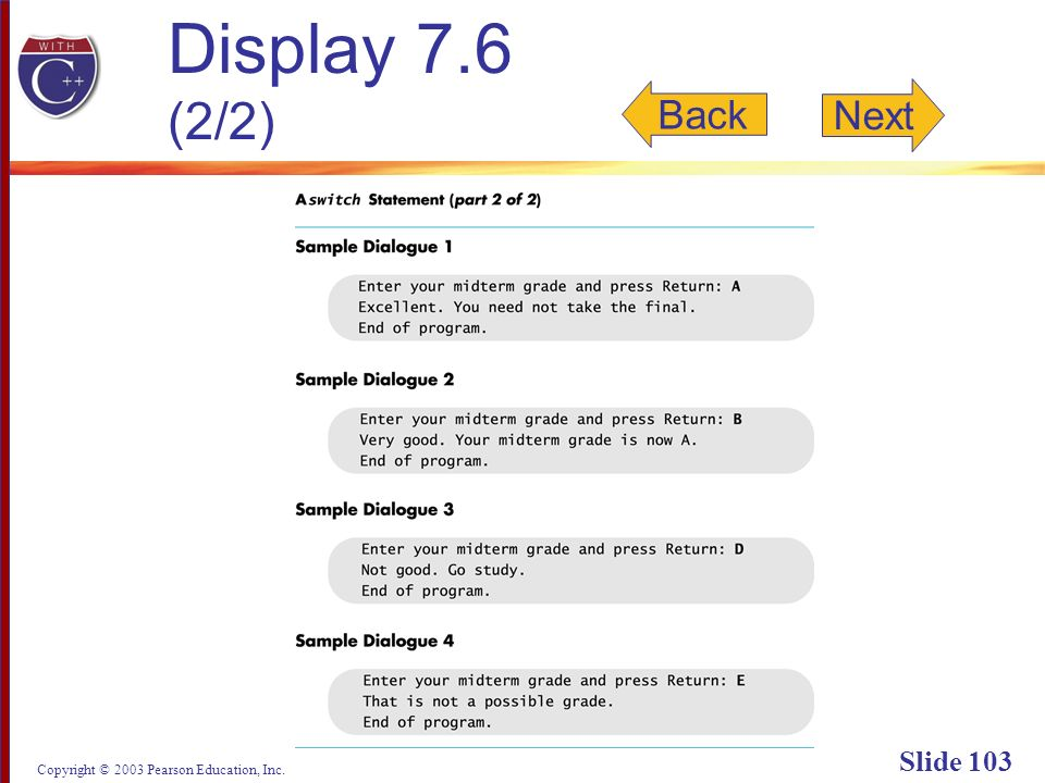 Copyright © 2003 Pearson Education, Inc. Slide 103 Display 7.6 (2/2) Back Next