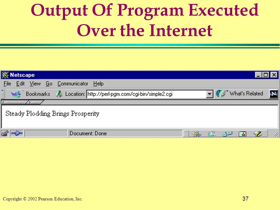 37 Copyright © 2002 Pearson Education, Inc. Output Of Program Executed Over the Internet