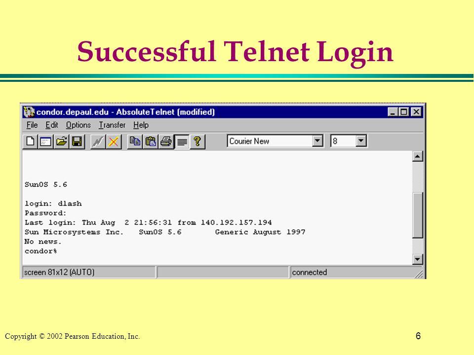 6 Copyright © 2002 Pearson Education, Inc. Successful Telnet Login