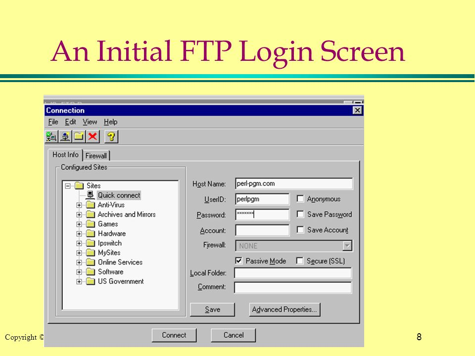 8 Copyright © 2002 Pearson Education, Inc. An Initial FTP Login Screen