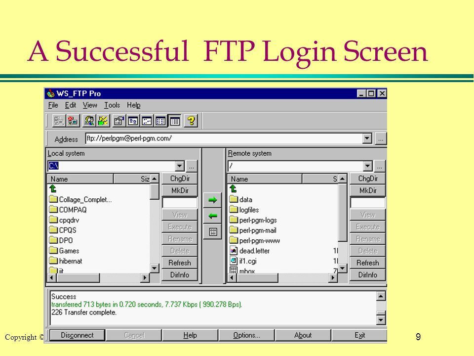 9 Copyright © 2002 Pearson Education, Inc. A Successful FTP Login Screen