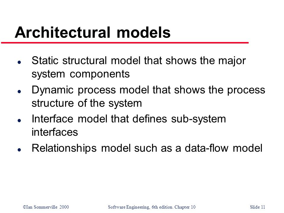 ©Ian Sommerville 2000 Software Engineering, 6th edition. Chapter 10Slide 11 Architectural models l Static structural model that shows the major system