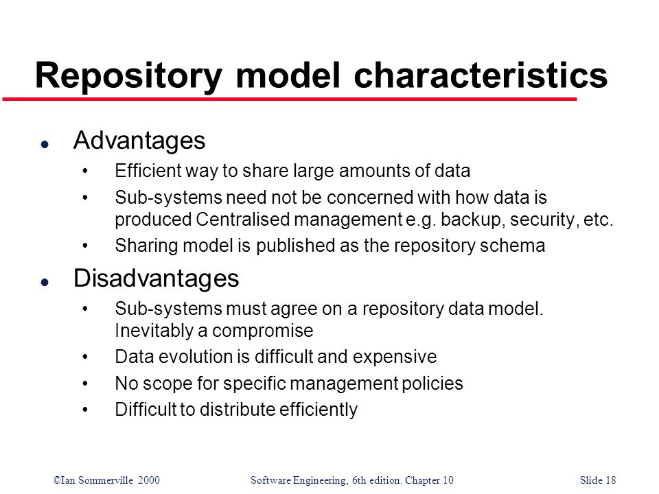 ©Ian Sommerville 2000 Software Engineering, 6th edition. Chapter 10Slide 18 Repository model characteristics l Advantages Efficient way to share large