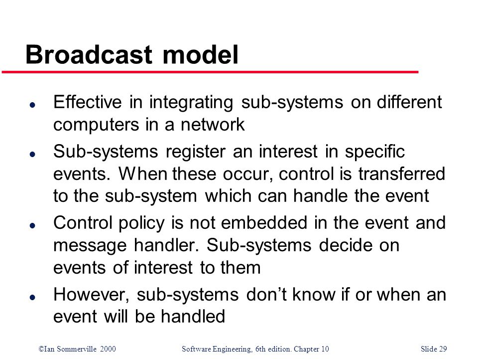 ©Ian Sommerville 2000 Software Engineering, 6th edition. Chapter 10Slide 29 Broadcast model l Effective in integrating sub-systems on different comput
