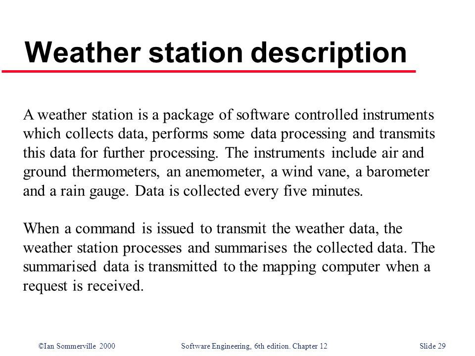 ©Ian Sommerville 2000 Software Engineering, 6th edition. Chapter 12Slide 29 Weather station description A weather station is a package of software con