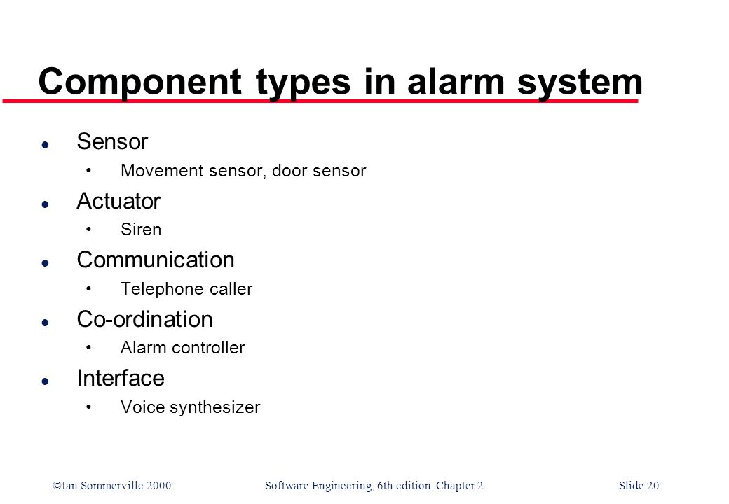 ©Ian Sommerville 2000 Software Engineering, 6th edition. Chapter 2Slide 20 Component types in alarm system l Sensor Movement sensor, door sensor l Act