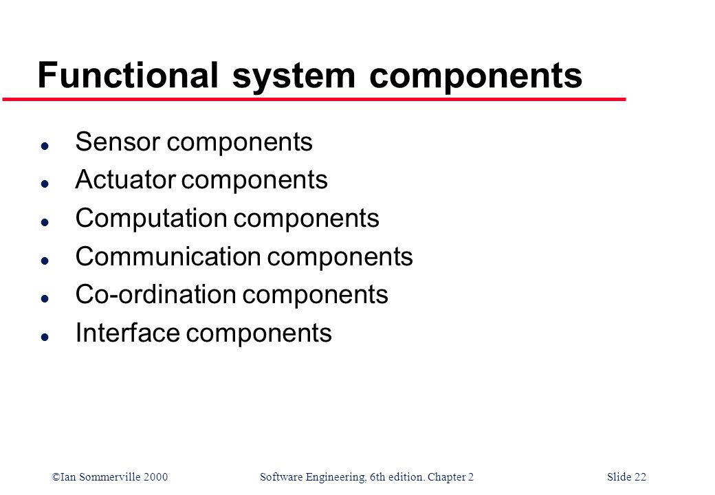©Ian Sommerville 2000 Software Engineering, 6th edition. Chapter 2Slide 22 Functional system components l Sensor components l Actuator components l Co