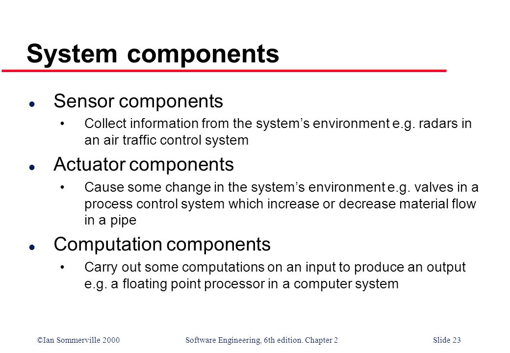 ©Ian Sommerville 2000 Software Engineering, 6th edition. Chapter 2Slide 23 System components l Sensor components Collect information from the systems