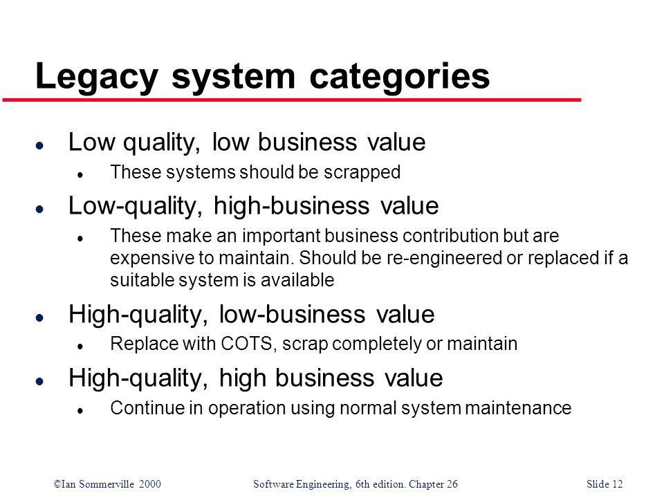 ©Ian Sommerville 2000 Software Engineering, 6th edition. Chapter 26Slide 12 Legacy system categories l Low quality, low business value l These systems