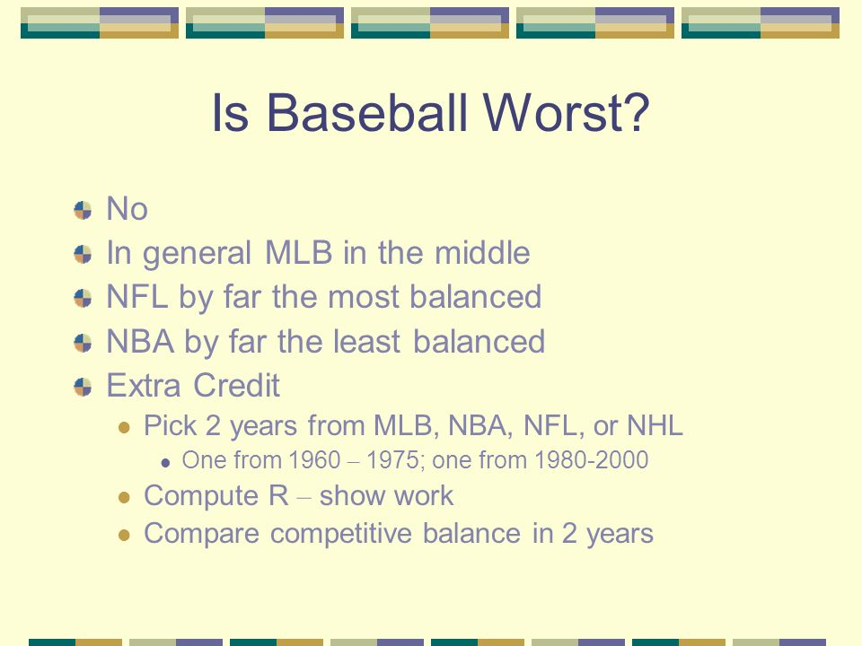 Is Baseball Worst? No In general MLB in the middle NFL by far the most balanced NBA by far the least balanced Extra Credit Pick 2 years from MLB, NBA,
