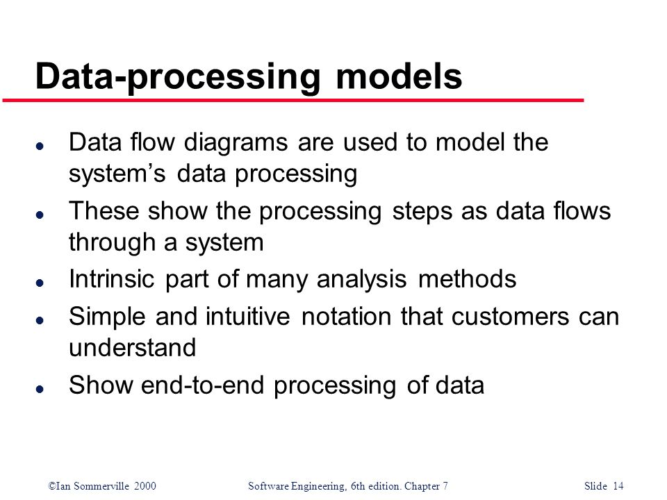 ©Ian Sommerville 2000 Software Engineering, 6th edition. Chapter 7 Slide 14 Data-processing models l Data flow diagrams are used to model the systems