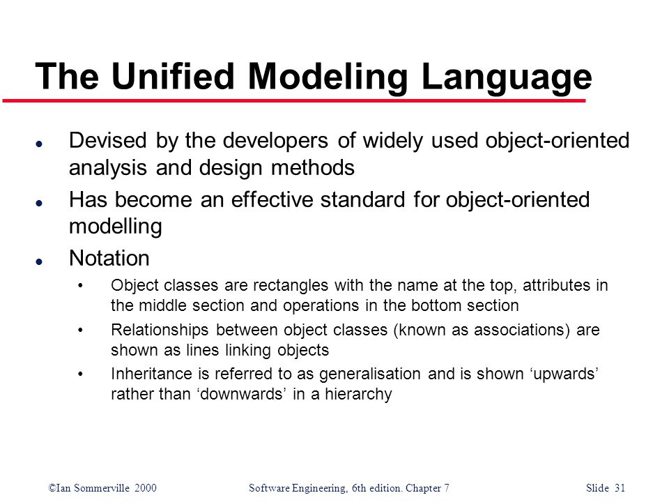 ©Ian Sommerville 2000 Software Engineering, 6th edition. Chapter 7 Slide 31 The Unified Modeling Language l Devised by the developers of widely used o