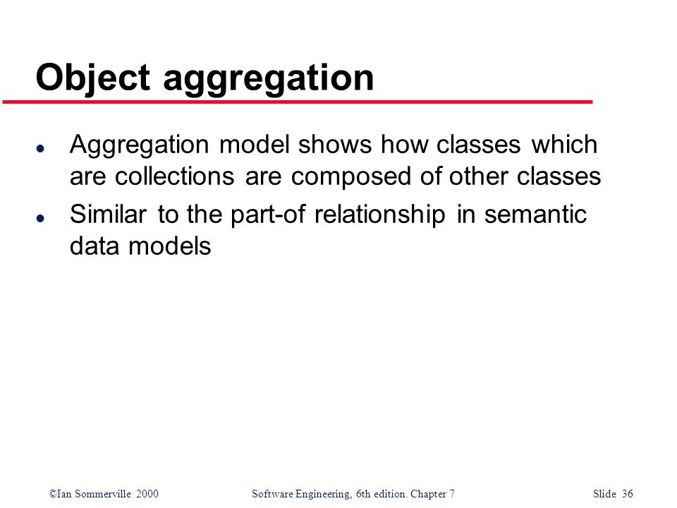 ©Ian Sommerville 2000 Software Engineering, 6th edition. Chapter 7 Slide 36 Object aggregation l Aggregation model shows how classes which are collect