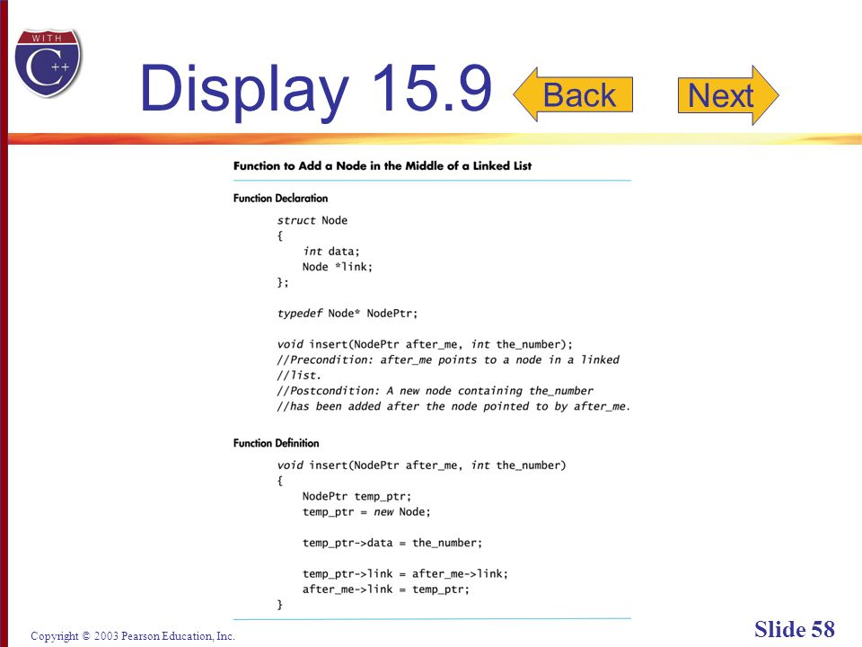 Copyright © 2003 Pearson Education, Inc. Slide 58 Display 15.9 Back Next