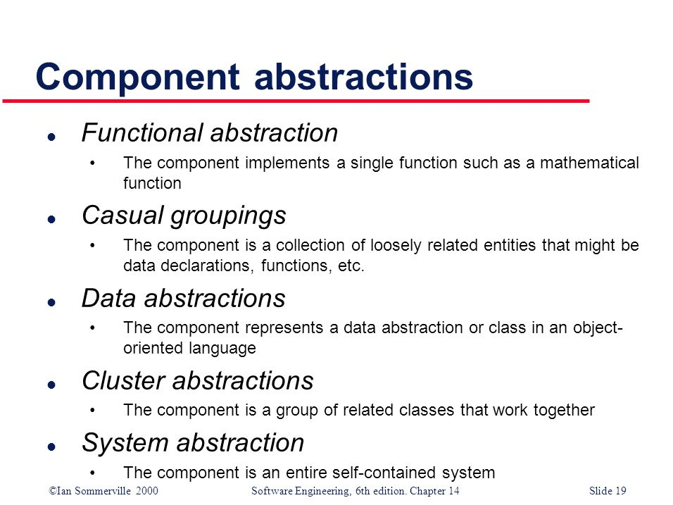 ©Ian Sommerville 2000 Software Engineering, 6th edition. Chapter 14Slide 19 Component abstractions l Functional abstraction The component implements a