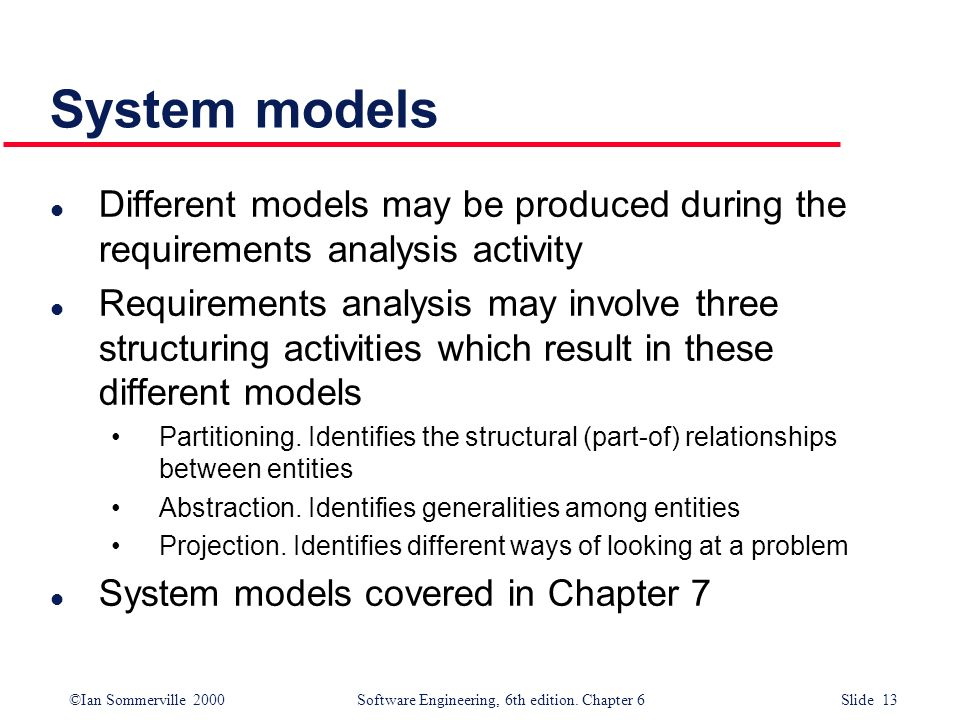 ©Ian Sommerville 2000 Software Engineering, 6th edition. Chapter 6 Slide 13 System models l Different models may be produced during the requirements a