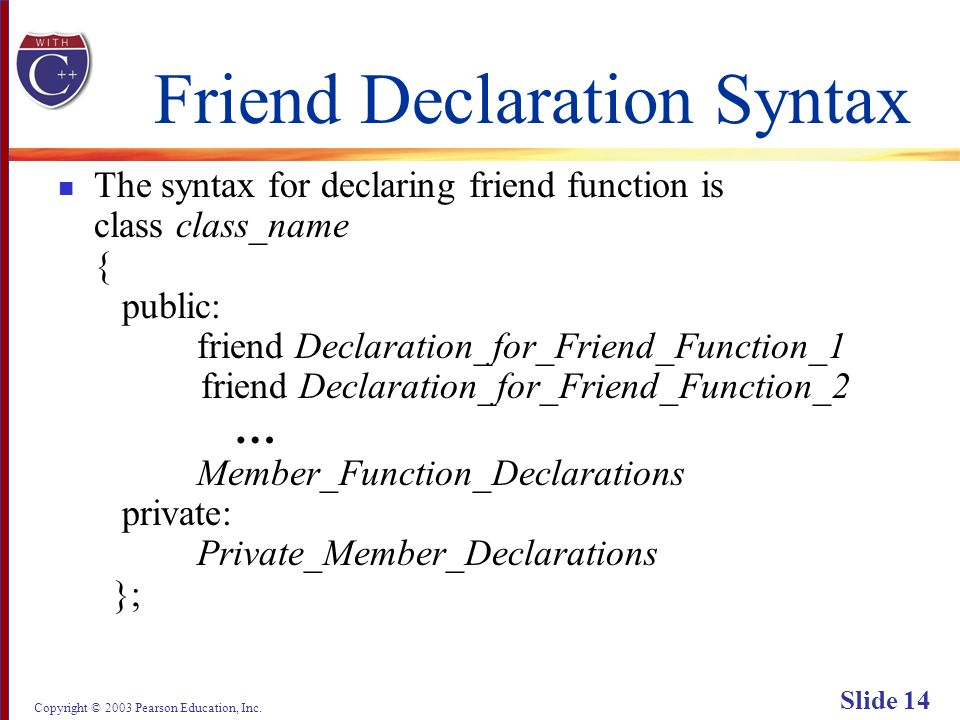 Copyright © 2003 Pearson Education, Inc. Slide 14 Friend Declaration Syntax The syntax for declaring friend function is class class_name { public: fri