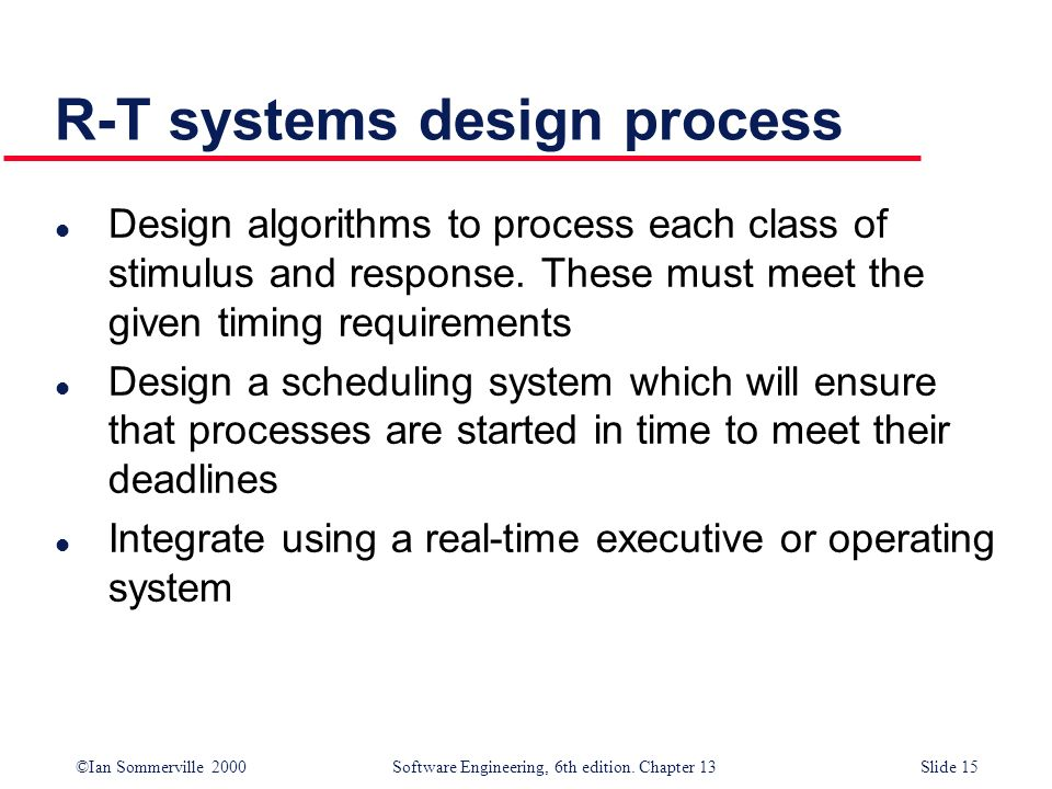 ©Ian Sommerville 2000 Software Engineering, 6th edition. Chapter 13Slide 15 R-T systems design process l Design algorithms to process each class of st