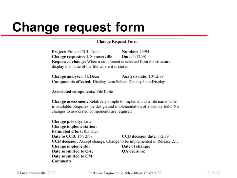 ©Ian Sommerville 2000Software Engineering, 6th edition. Chapter 29Slide 22 Change request form
