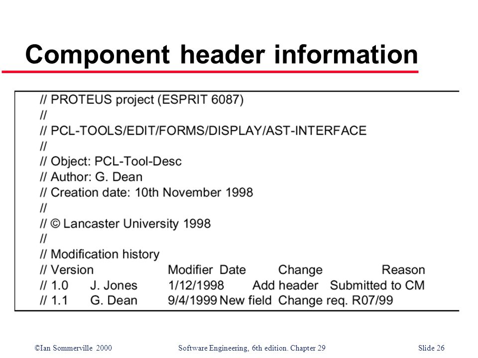 ©Ian Sommerville 2000Software Engineering, 6th edition. Chapter 29Slide 26 Component header information