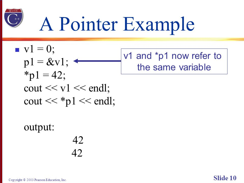 Copyright © 2003 Pearson Education, Inc. Slide 10 A Pointer Example v1 = 0; p1 = &v1; *p1 = 42; cout << v1 << endl; cout << *p1 << endl; output: 42 42