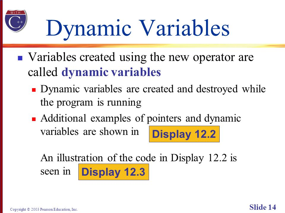 Copyright © 2003 Pearson Education, Inc. Slide 14 Dynamic Variables Variables created using the new operator are called dynamic variables Dynamic vari