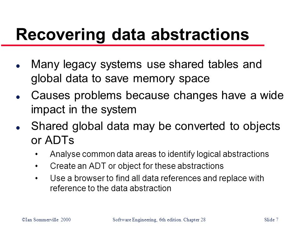 ©Ian Sommerville 2000 Software Engineering, 6th edition. Chapter 28Slide 7 Recovering data abstractions l Many legacy systems use shared tables and gl