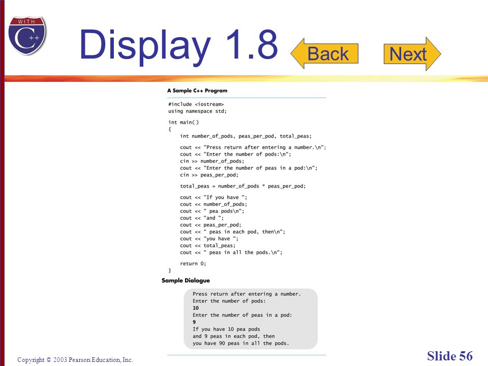 Copyright © 2003 Pearson Education, Inc. Slide 56 Display 1.8 Next Back