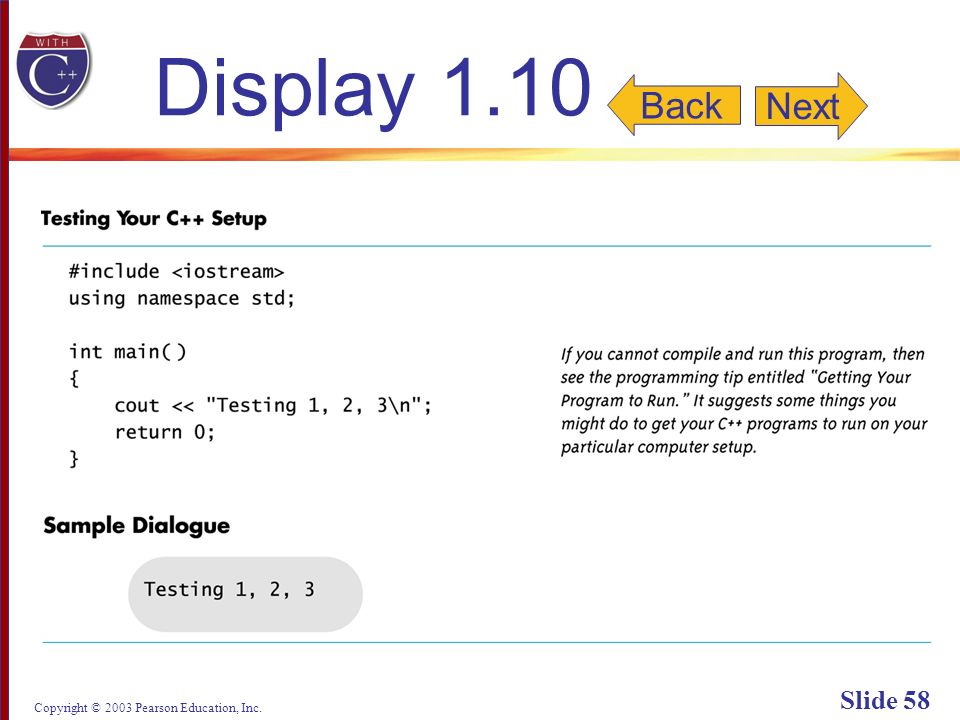 Copyright © 2003 Pearson Education, Inc. Slide 58 Display 1.10 Next Back