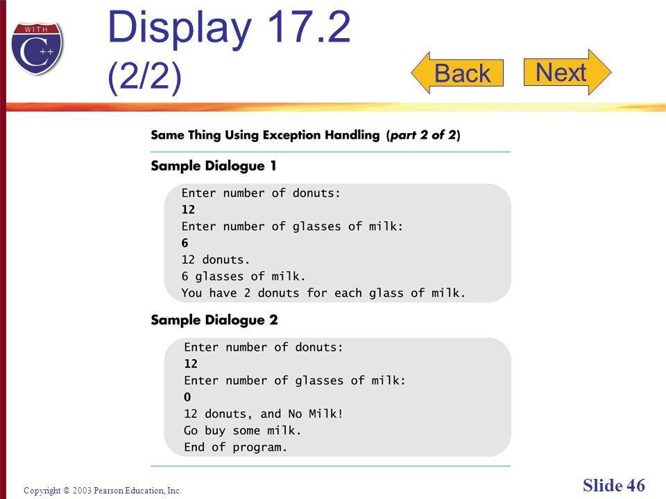 Copyright © 2003 Pearson Education, Inc. Slide 46 Display 17.2 (2/2) Back Next