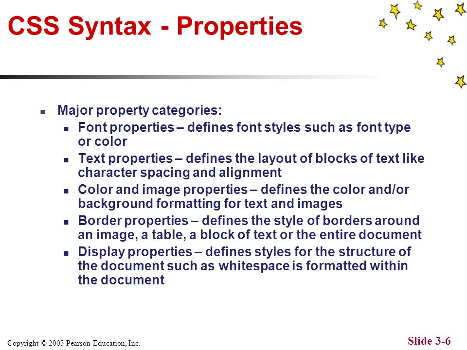 Copyright © 2003 Pearson Education, Inc. Slide 3-5 CSS Syntax – Defining styles Three ways to define CSS styles Linked Style Sheets – style sheets sto
