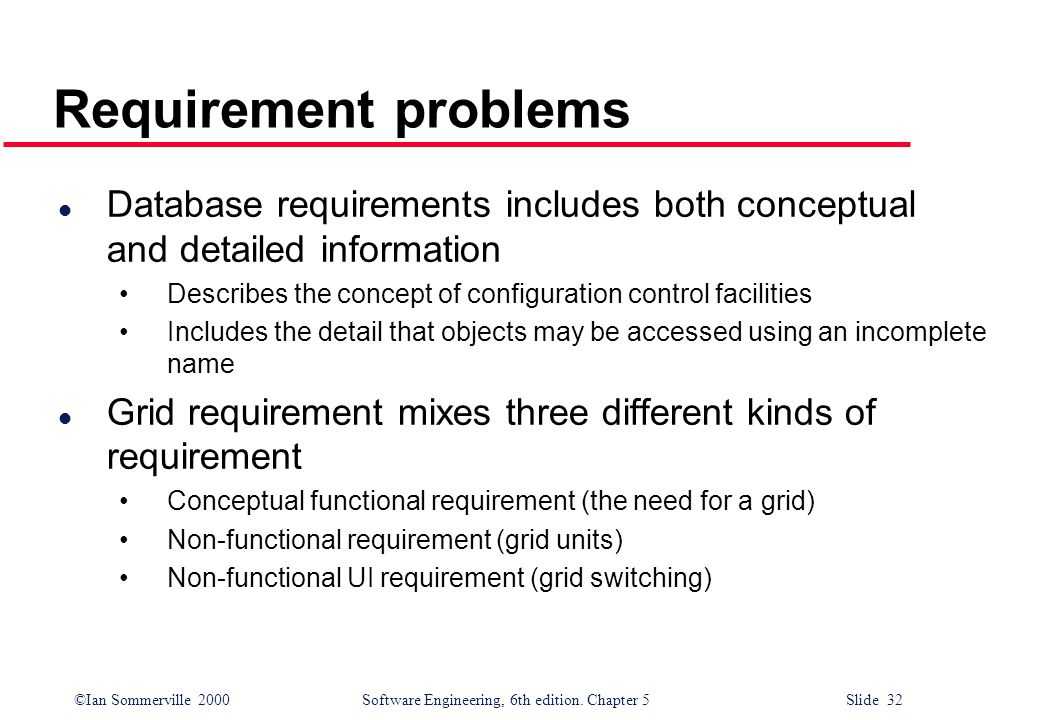 ©Ian Sommerville 2000 Software Engineering, 6th edition. Chapter 5 Slide 32 Requirement problems l Database requirements includes both conceptual and