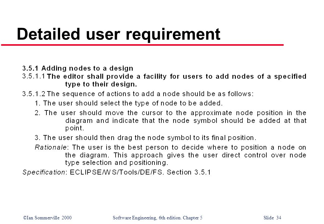 ©Ian Sommerville 2000 Software Engineering, 6th edition. Chapter 5 Slide 34 Detailed user requirement