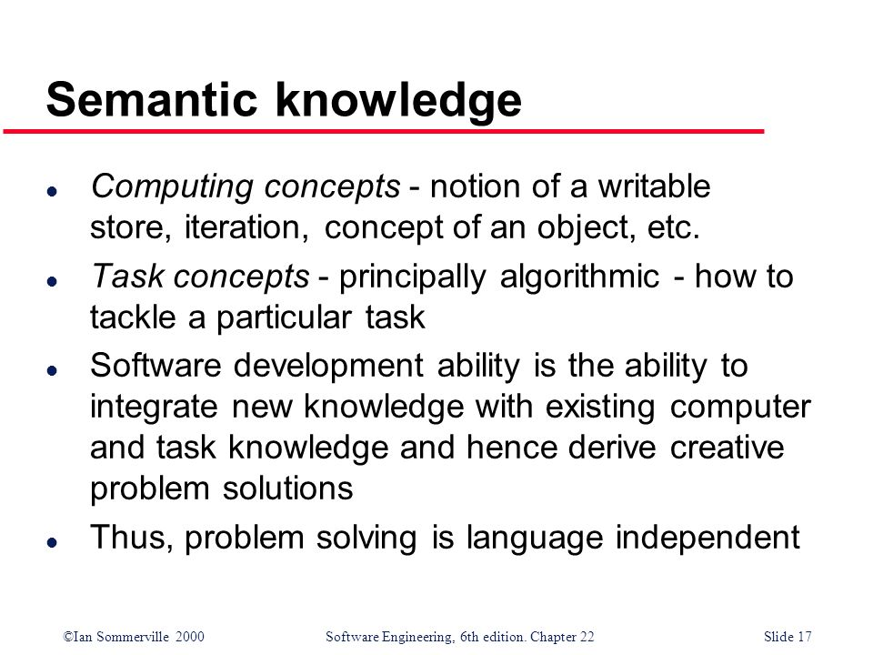 ©Ian Sommerville 2000 Software Engineering, 6th edition. Chapter 22Slide 17 Semantic knowledge l Computing concepts - notion of a writable store, iter