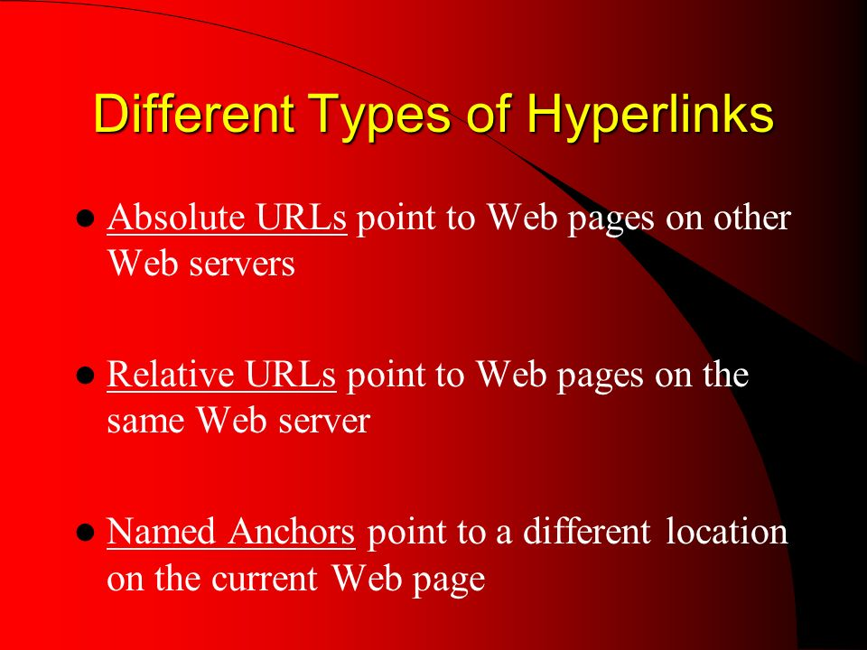 Different Types of Hyperlinks Absolute URLs point to Web pages on other Web servers Relative URLs point to Web pages on the same Web server Named Anchors point to a different location on the current Web page