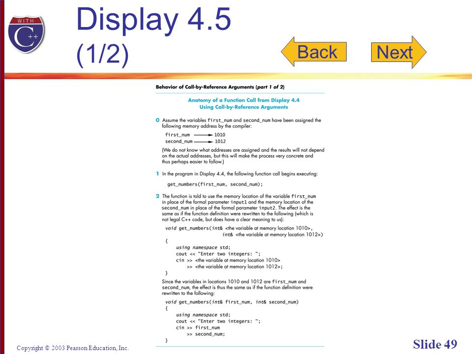 Copyright © 2003 Pearson Education, Inc. Slide 49 Display 4.5 (1/2) Back Next