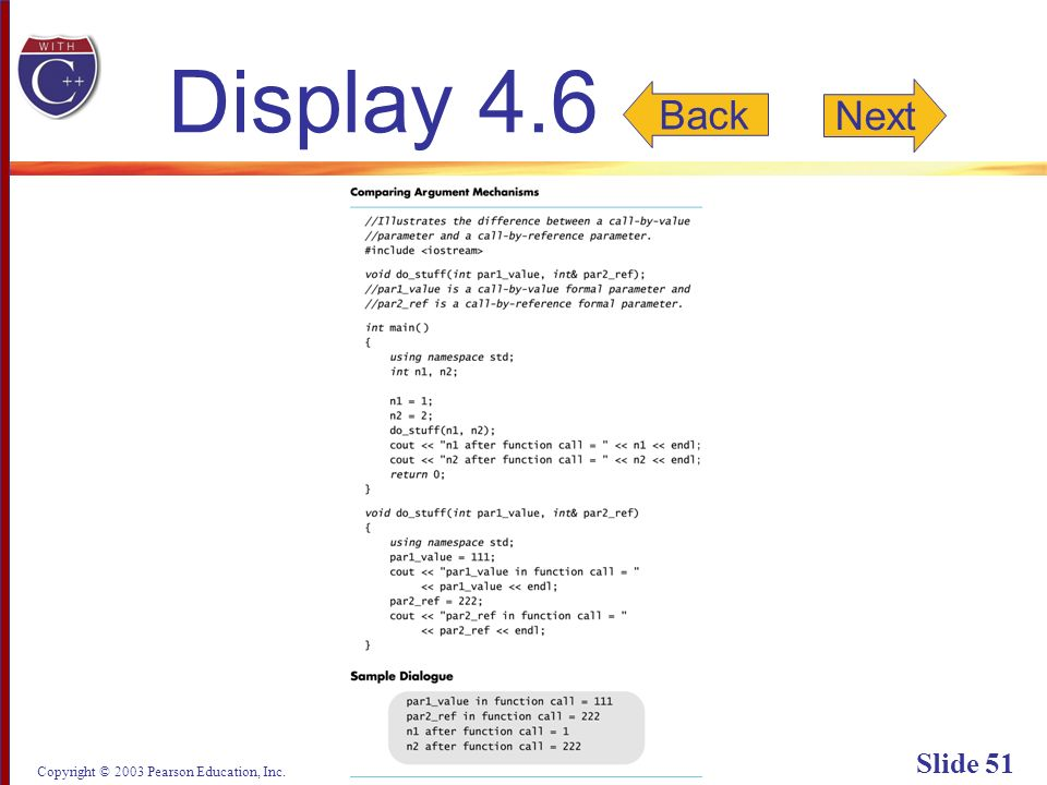 Copyright © 2003 Pearson Education, Inc. Slide 51 Display 4.6 Back Next
