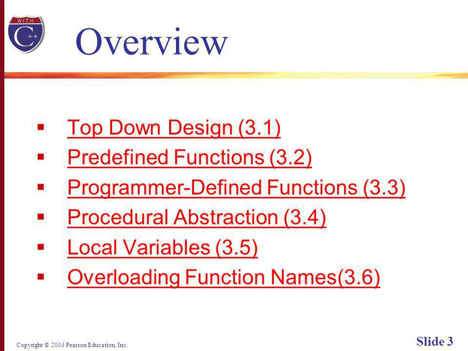 Copyright © 2003 Pearson Education, Inc. Slide 64 Display 3.4 (1/2) Back Next