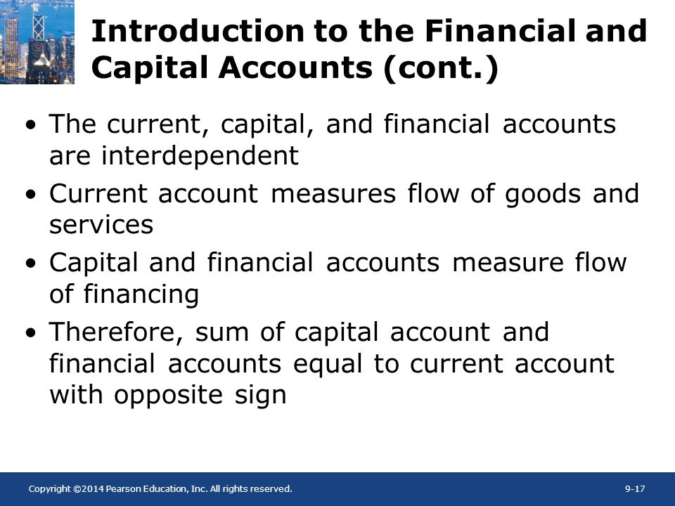 Copyright ©2014 Pearson Education, Inc. All rights reserved.9-17 Introduction to the Financial and Capital Accounts (cont.) The current, capital, and