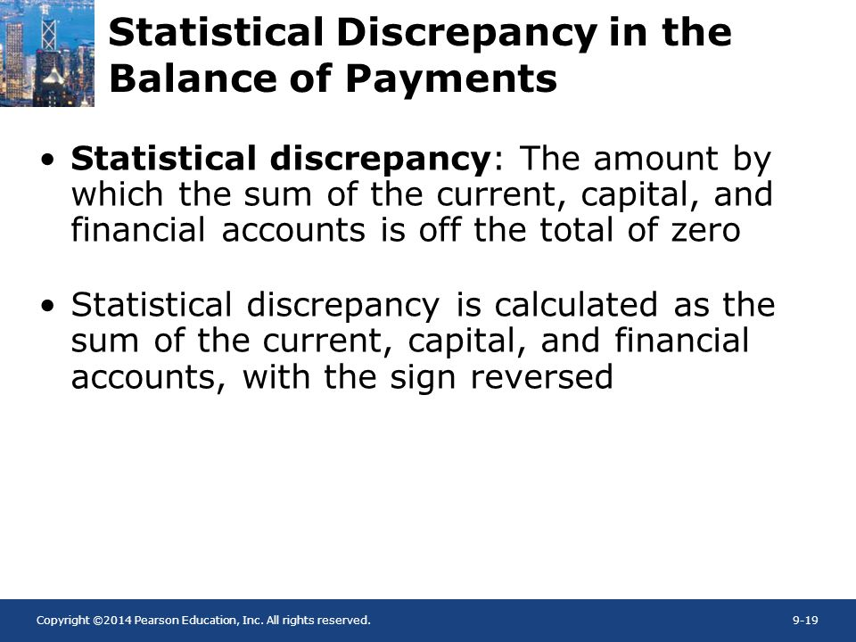 Copyright ©2014 Pearson Education, Inc. All rights reserved.9-19 Statistical Discrepancy in the Balance of Payments Statistical discrepancy: The amoun