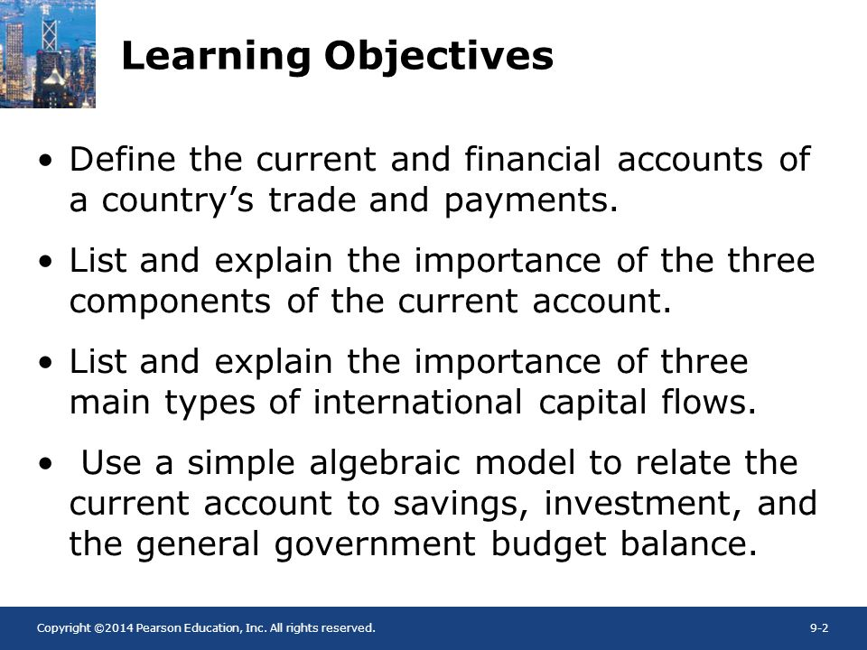 Copyright ©2014 Pearson Education, Inc. All rights reserved.9-2 Learning Objectives Define the current and financial accounts of a countrys trade and