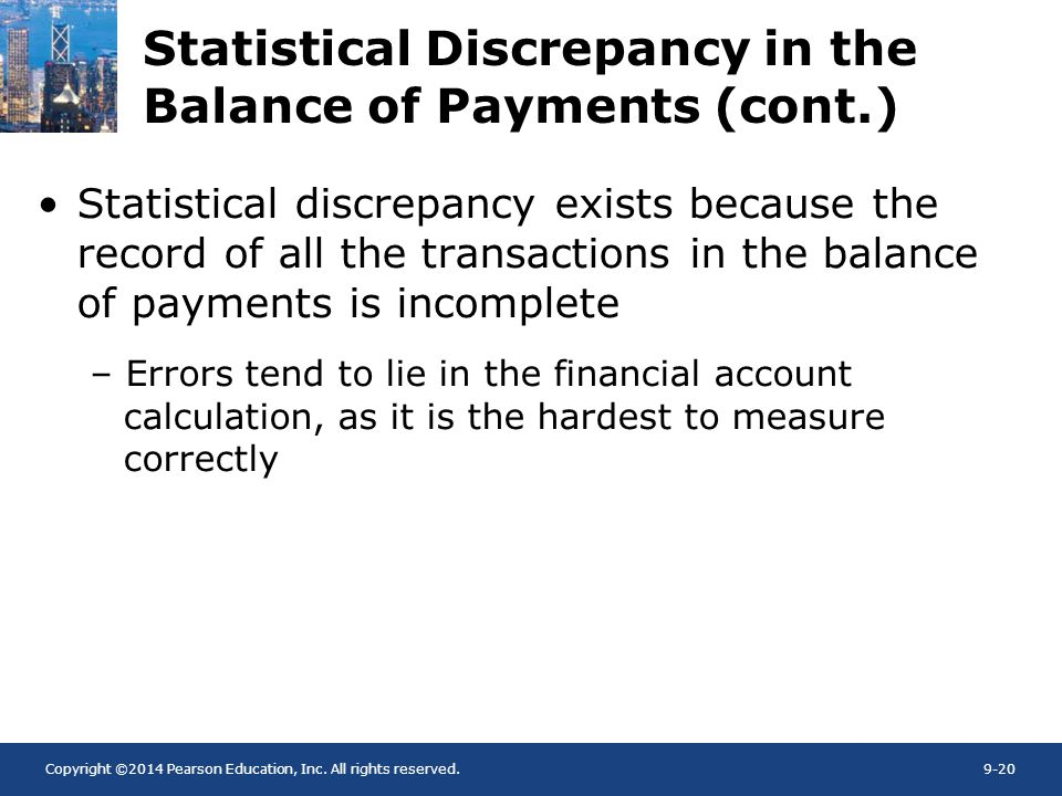Copyright ©2014 Pearson Education, Inc. All rights reserved.9-20 Statistical Discrepancy in the Balance of Payments (cont.) Statistical discrepancy ex