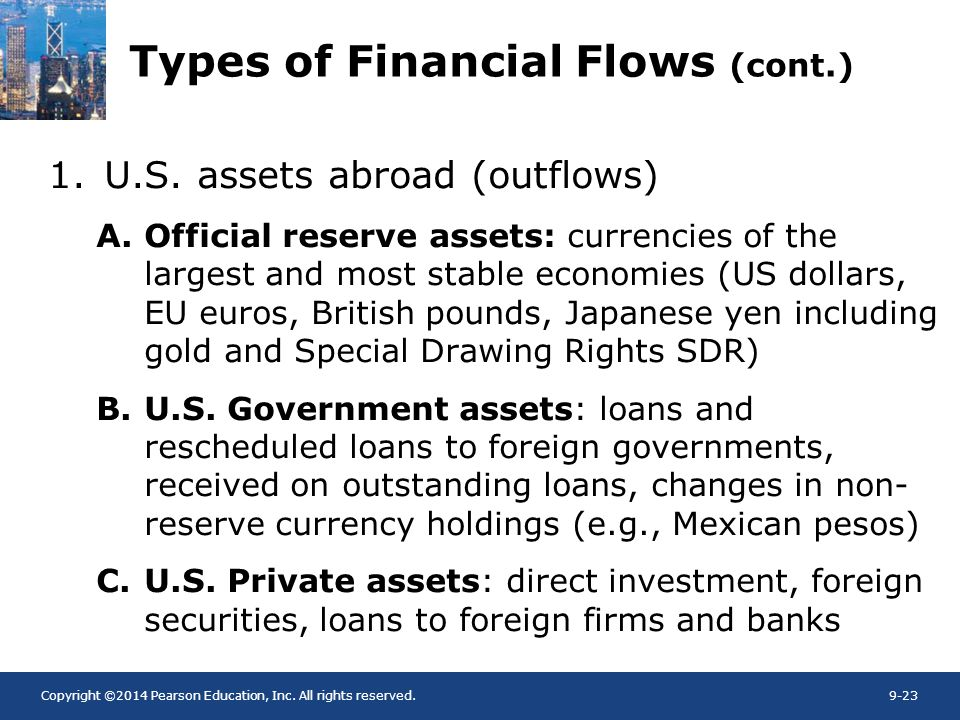 Copyright ©2014 Pearson Education, Inc. All rights reserved.9-23 Types of Financial Flows (cont.) 1.U.S. assets abroad (outflows) A.Official reserve a
