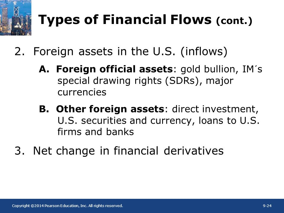 Copyright ©2014 Pearson Education, Inc. All rights reserved.9-24 Types of Financial Flows (cont.) 2.Foreign assets in the U.S. (inflows) A. Foreign of