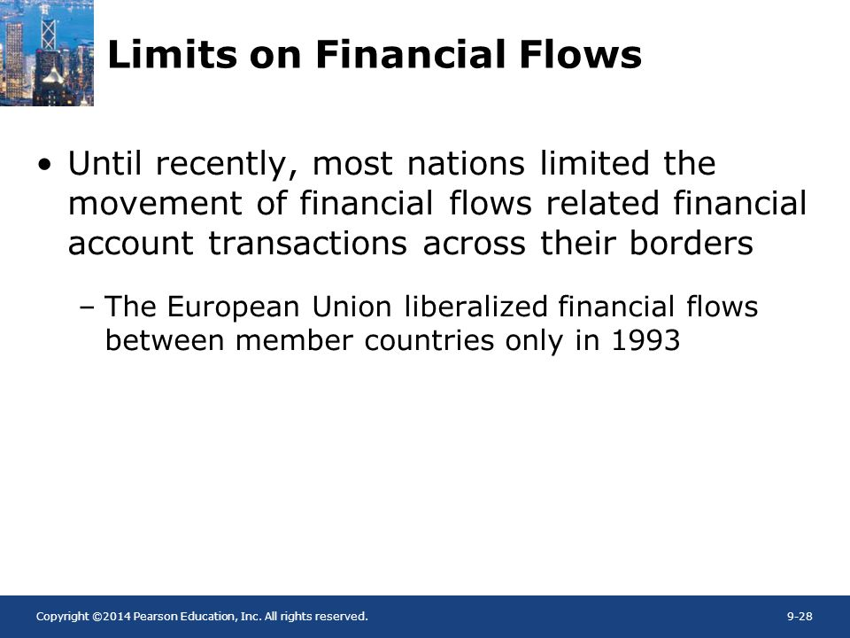 Copyright ©2014 Pearson Education, Inc. All rights reserved.9-28 Limits on Financial Flows Until recently, most nations limited the movement of financ