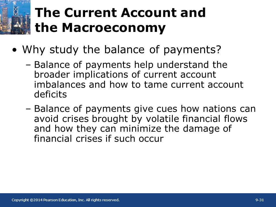 Copyright ©2014 Pearson Education, Inc. All rights reserved.9-31 The Current Account and the Macroeconomy Why study the balance of payments? –Balance