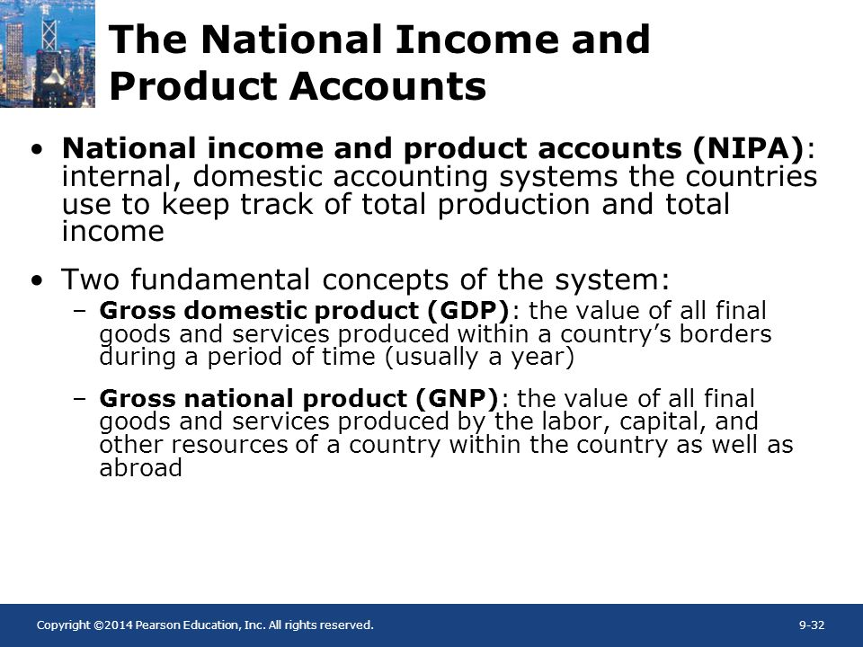 Copyright ©2014 Pearson Education, Inc. All rights reserved.9-32 The National Income and Product Accounts National income and product accounts (NIPA):