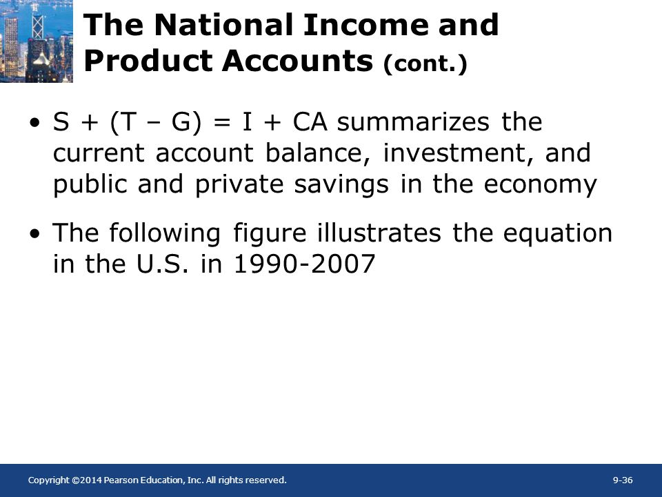 Copyright ©2014 Pearson Education, Inc. All rights reserved.9-36 The National Income and Product Accounts (cont.) S + (T – G) = I + CA summarizes the