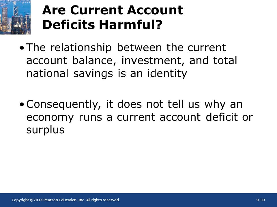 Copyright ©2014 Pearson Education, Inc. All rights reserved.9-39 Are Current Account Deficits Harmful? The relationship between the current account ba