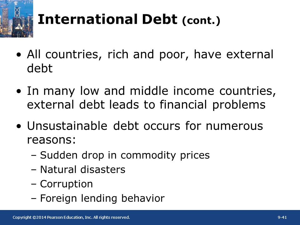 Copyright ©2014 Pearson Education, Inc. All rights reserved.9-41 International Debt (cont.) All countries, rich and poor, have external debt In many l